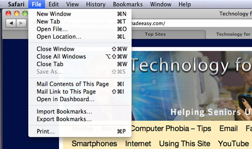 Open Safari Browser File Menu image on Technology for Seniors Made Easy site
