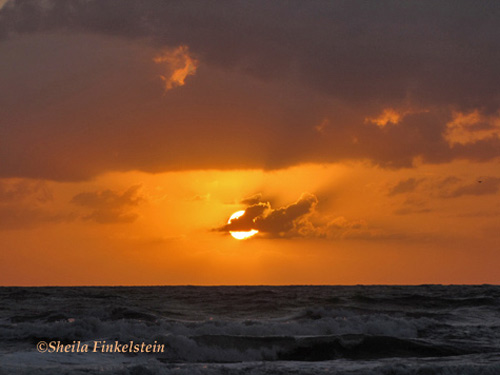 cloud crosses part of the sun as seen from surfside - Daytona Beach, FL
