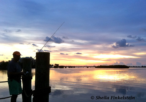 fisherman at sunset in Loxahatchee