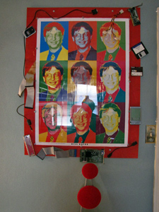 Poster of Bill Gates surrounded with technological gadgets